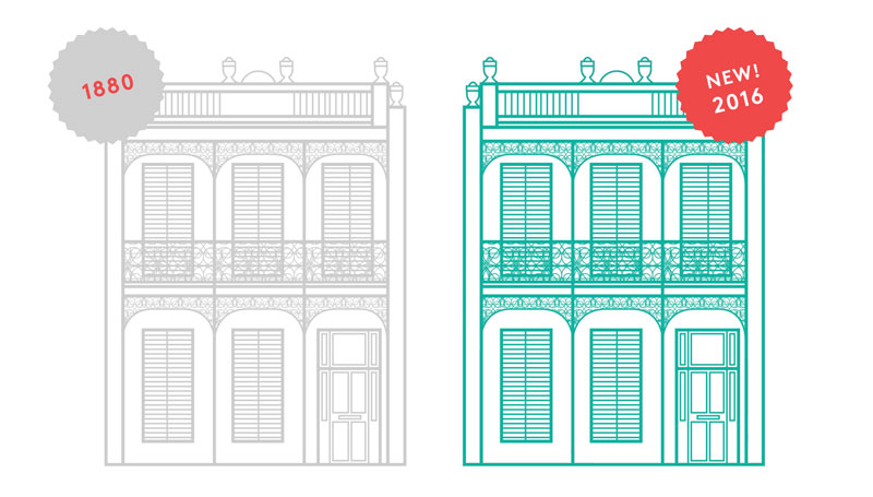 Illustration of two identical Victorian terraces built in 1880 versus 2016