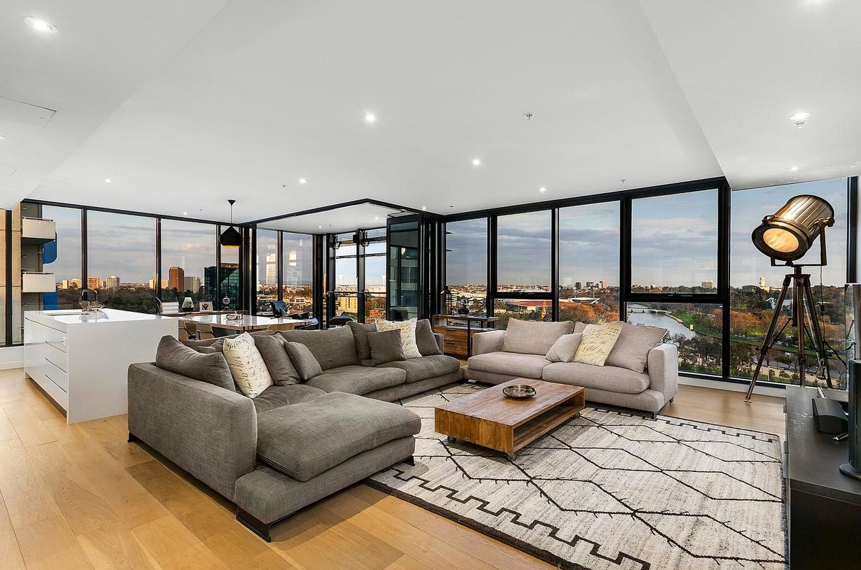 Open plan living room of Melbourne penthouse apartment