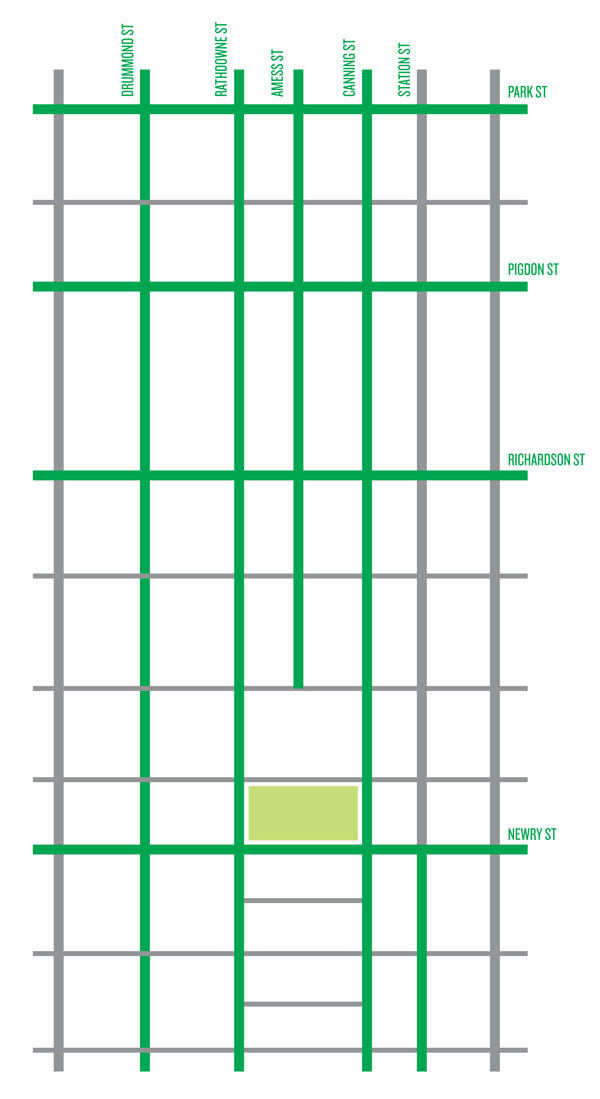 Diagram of Carlton North showing bike lanes in green and non-bike lanes in grey