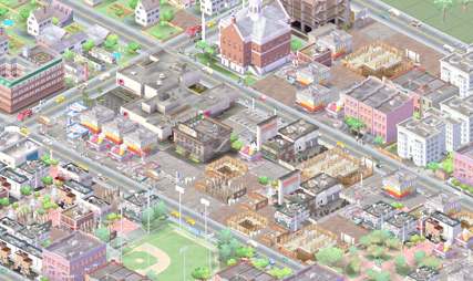 A screen grab from the iconic game SimCity, an open-ended city-building computer and console video game series originally designed by developer Will Wright. The game was first published in 1989.