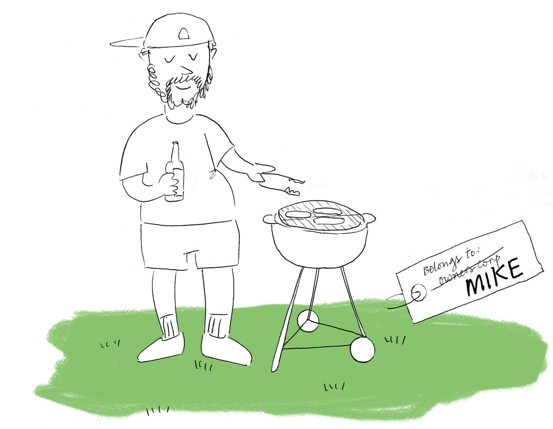 Drawing of a man with a cap, holding a beer in one hand, barbecuing sausages with another, standing in his own backyard. The lawn is tagged with a note that says Belongs To Mike.
