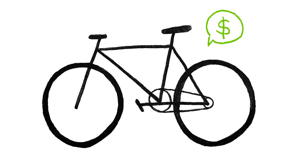 Drawing of a bicycle with a speech bubble containing a dollar sign next to it